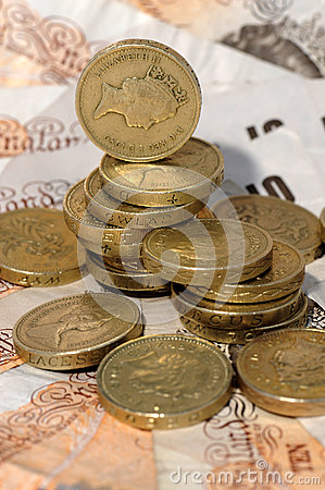 British coins and notes Editorial Stock Image