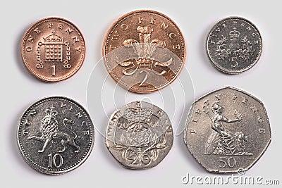 British coins: tails