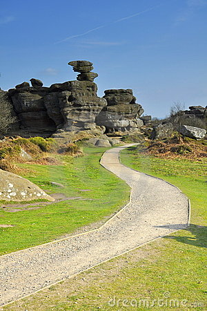 British countryside: Brimham Rocks valley