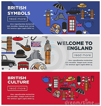 Free British Culture And Symbols Internet Pages Templates Set Royalty Free Stock Photos - 115055668