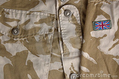 British desert uniform with a flag