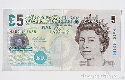 British Five Pound Note Editorial Stock Photo