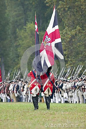 British flag and British troops Editorial Stock Photo