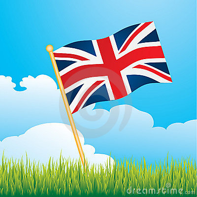 British flag on countryside