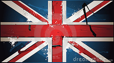 The British flag is drawn with paint
