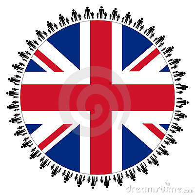 British flag with families