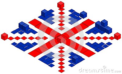 British flag made of cubes, illustration