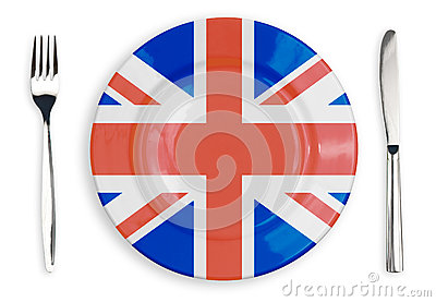 British flag  plate, fork and knife isolated