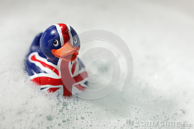 British flag rubber duck in the bath