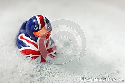 British flag rubber duck in the bath