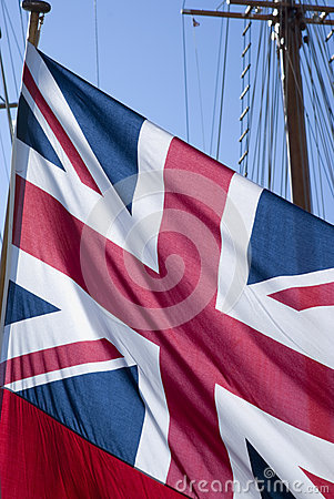 British flag on sailboat