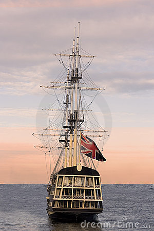 British flag on sailing ship