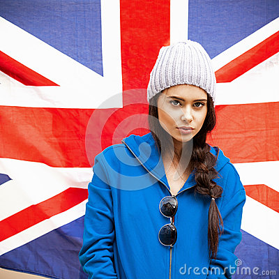 British girl with the Union Jack flag