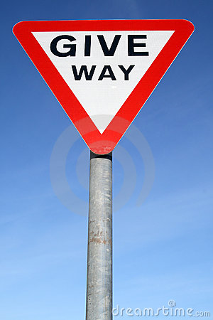 British give way road sign.