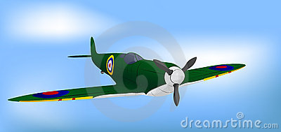 British Green RAF WW2 Spitfire