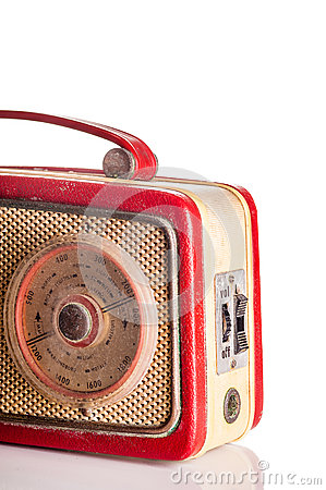 Sixties red portable transistor radio