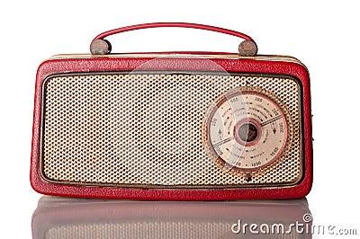 Sixties red portable transistor radio