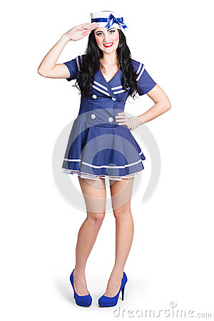 Free British Navy Blue Pin Up Girl Saluting Stock Photography - 32318942
