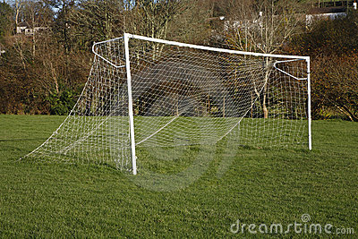 British park football pitch goal posts and net.