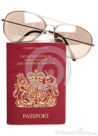British passport and sunglasses