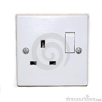 British plug socket isolated on white