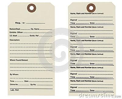 British Police Exhibit / Evidence Label