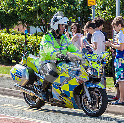 British Police Office and Motorbike Editorial Photography
