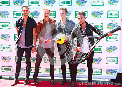 British pop rock band Lawson attends the Arthur Ashe Kids Day 2013 at Billie Jean King National Tennis Center Editorial Stock Photo