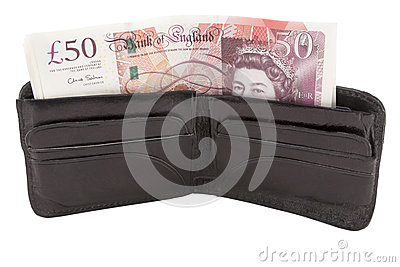 British pound sterling banknote and wallet Editorial Image