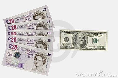 British pounds and dollars Editorial Stock Image