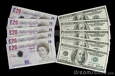 British pounds and dollars Editorial Stock Photo