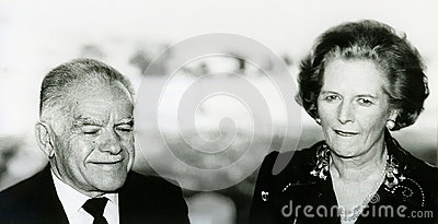 Yitzhak Shamir and Margaret Thatcher Editorial Stock Image