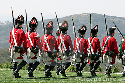British regulars marching back
