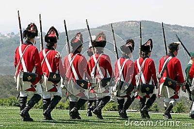 British regulars marching back