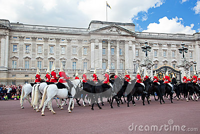 British Royal guards perform the Changing of the Guard in Buckingham Palace Editorial Photography