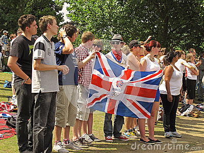 British supporters with flag Editorial Stock Image