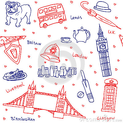 Free British Symbols And Icons Seamless Pattern Stock Photo - 40892310
