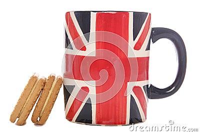 British tea mug and biscuits