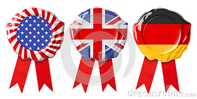 British UK, German and USA flags guarantee seals