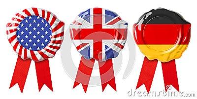 British UK, German and USA flags guarantee seals signets