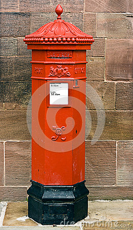 British Victorian Hexagonal Royal Mail Postbox.