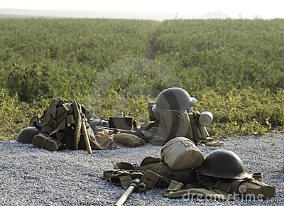 British WWI helmets and kits on Somme battlefield