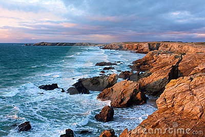Brittany Dusk on the coast of Quiberon Seascape