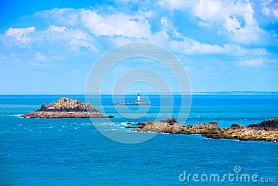 Brittany ocean panorama, islands and lighthouse Point du Grouin.