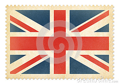 Brittish postage stamp with The Great Britain flag isolated