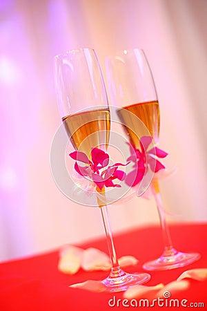 Bröllopchampagneexponeringsglas