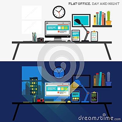 Büro Tag und Nacht