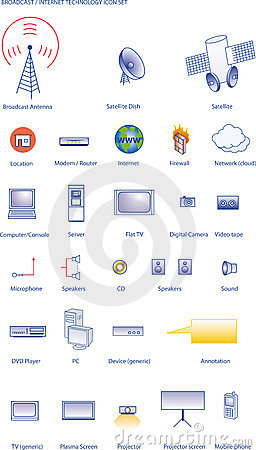 Broadcast & internet technology icon set