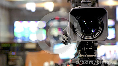 Broadcast video camera camcorder back in the studio TV show Stock Photo