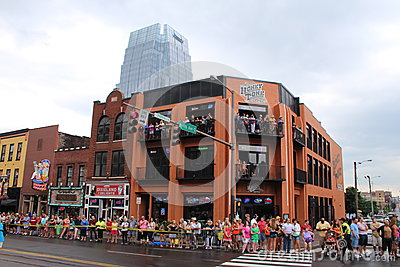 Tennessee USA - famous Broadway street during the CMA country music